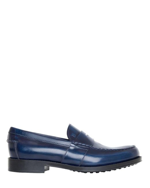 Tod's - Blue Brushed Leather Loafers for Men - Lyst