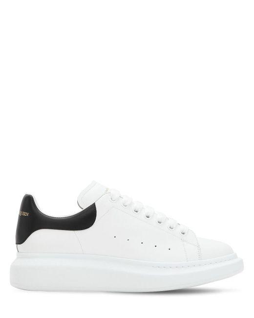 Sneakers De Piel Con Plataforma 45Mm Alexander McQueen de hombre de color White