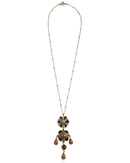 Etro | Black Flower Pendent Necklace | Lyst