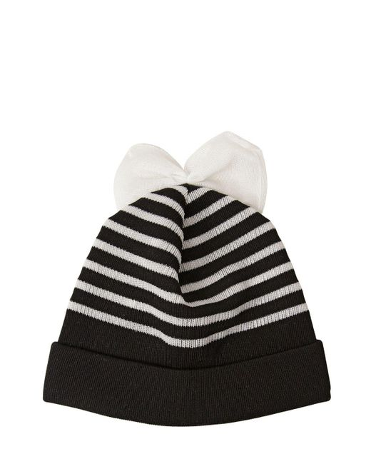 Federica Moretti - Black Striped Cotton Blend Beanie Hat With Bow - Lyst