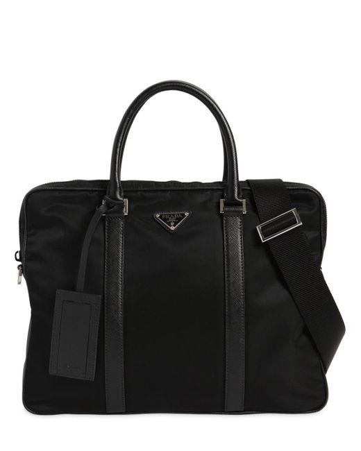 Prada - Black Nylon Canvas Briefcase for Men - Lyst