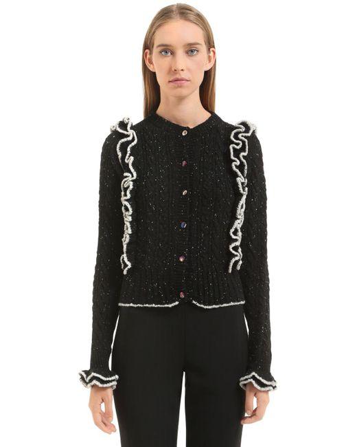 Philosophy Di Lorenzo Serafini | Black Ruffled Tweed Yarn Cable Knit Cardigan | Lyst