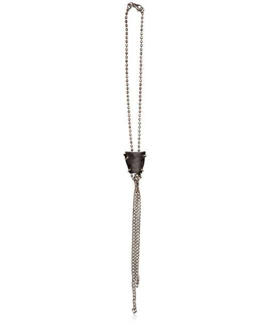 Emanuele Bicocchi | Metallic Silver Ball Chain & Leather Necklace for Men | Lyst