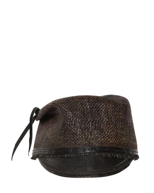 Move | Brown Leather Visor Straw Military Hat for Men | Lyst