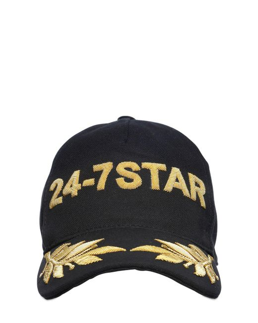 DSquared² - Black Icon Embroidered Canvas Baseball Hat for Men - Lyst