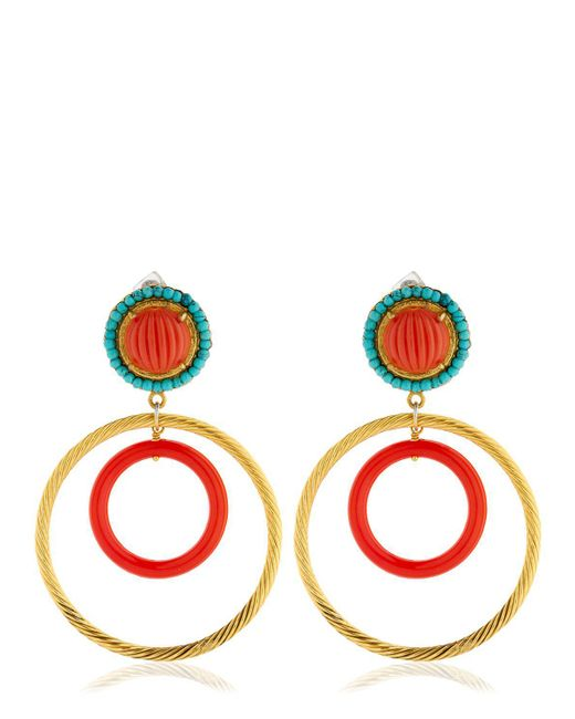Katerina Psoma | Red Nuwa Gold & Glass Circle Earrings | Lyst
