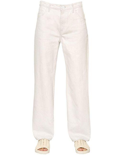 Helmut Lang - Cropped Vintage White Cotton Denim Jeans - Lyst