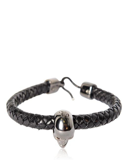 Alexander McQueen - Black Skull Woven Leather Bracelet for Men - Lyst