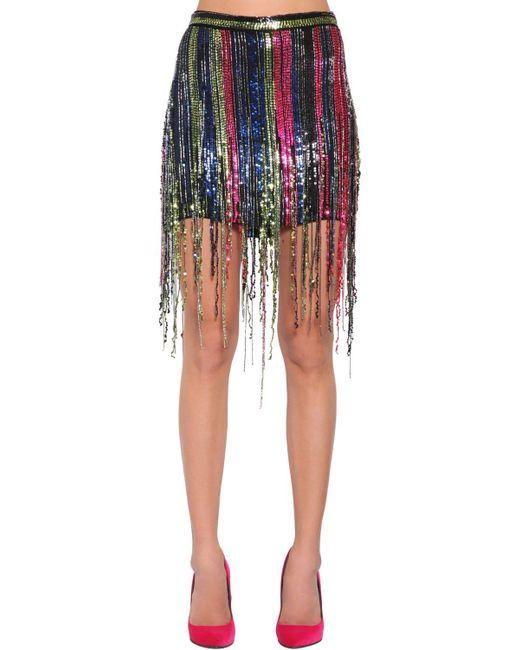 af208b098 Amen - Multicolor Fringe Sequined Mini Skirt - Lyst ...
