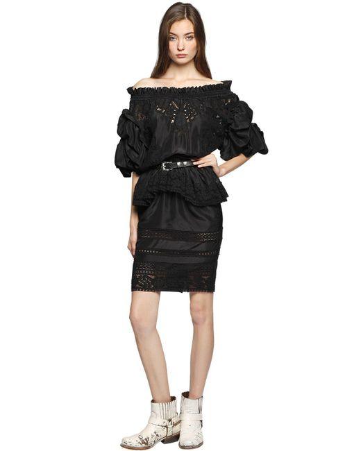 Faith Connexion - Black Washed Silk & Lace Off Shoulder Dress - Lyst