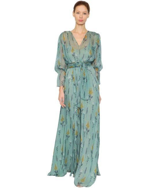 Luisa Beccaria Blue Floral Printed Silk Chiffon Dress