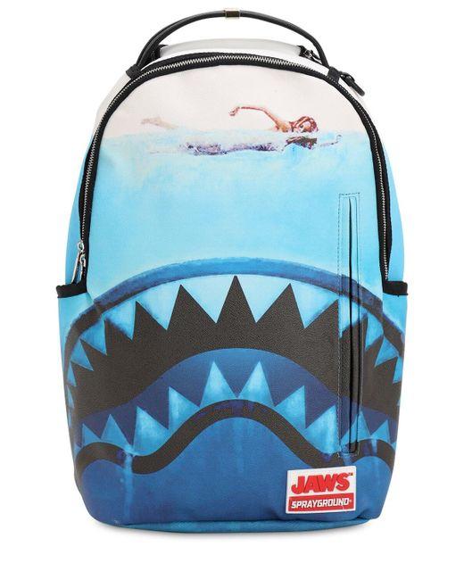 """Sprayground - Blue Rucksack Mit Druck """"jaws Shark"""" for Men - Lyst"""