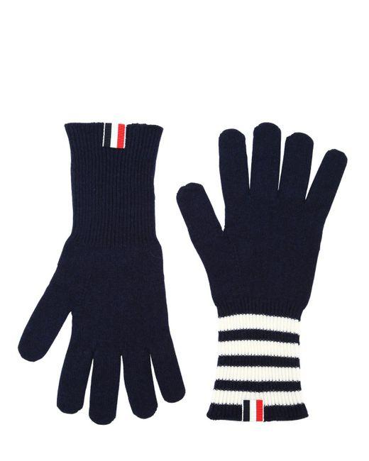 Thom Browne - Blue Bar Stripe Cashmere Gloves Navy - Lyst