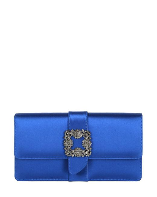 Manolo Blahnik - Blue Capri Swarovski Silk Satin Clutch - Lyst