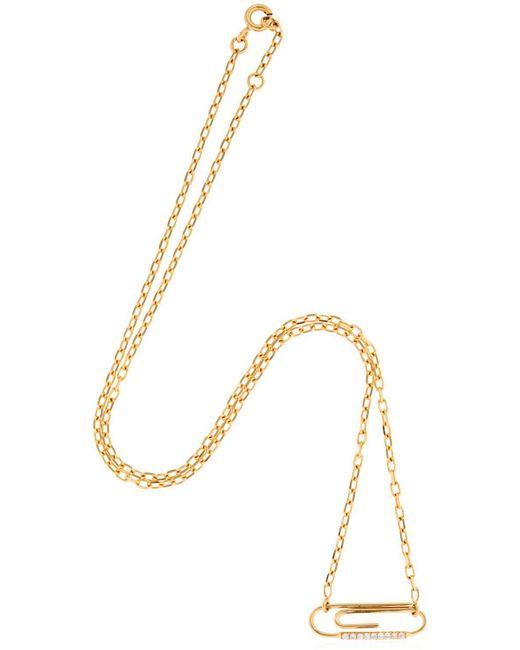 Aurelie Bidermann - Metallic Paper Clip Necklace W/ Diamonds - Lyst