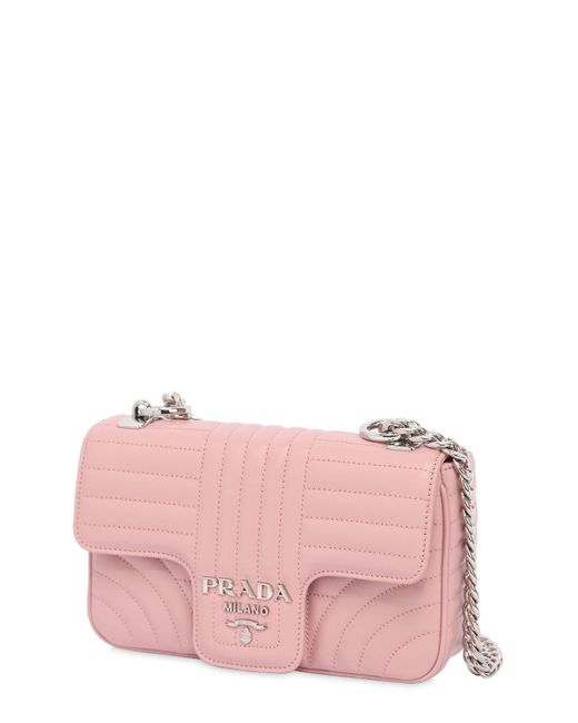 11a82dcb44638e ... france prada pink small quilted soft leather flap bag lyst 00a93 29287