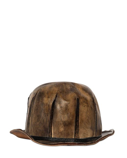 Move | Brown Vintage Effect Leather Bowler Hat for Men | Lyst