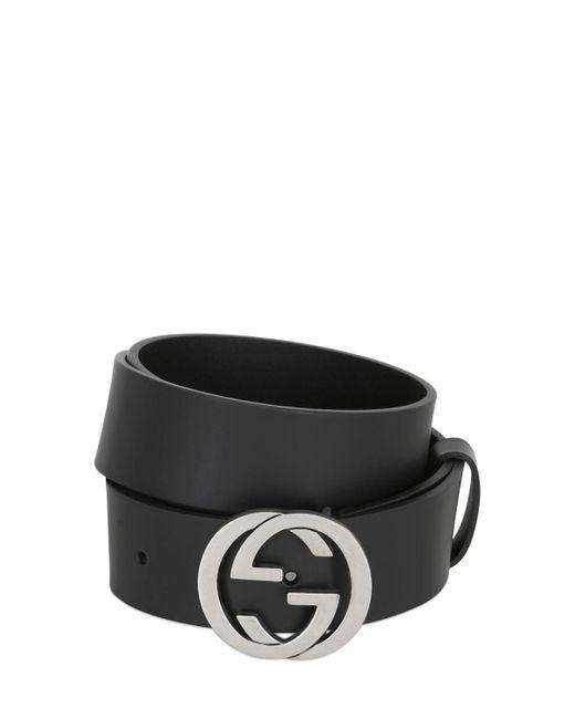 Gucci - Black 37mm Interlocking G Buckle Leather Belt for Men - Lyst