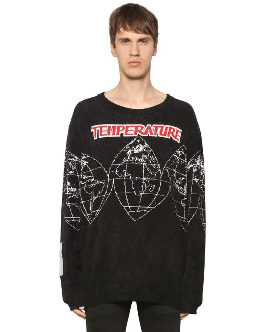 Off-White c/o Virgil Abloh - Black Maps Chenille Jacquard Knit Sweater for Men - Lyst