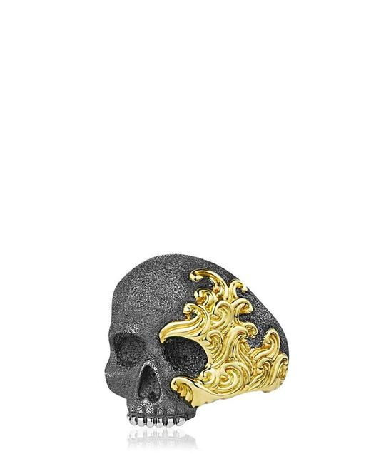 David Yurman - Metallic Waves Skull Gold & Silver Ring for Men - Lyst