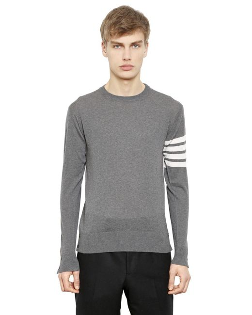 f4ff492a87 Thom Browne - Gray Intarsia Stripes Merino Wool Sweater for Men - Lyst ...