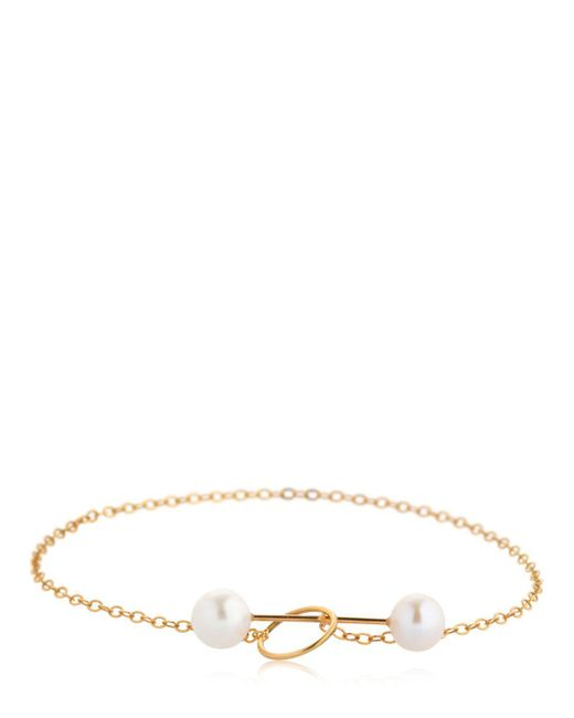 Saskia Diez   Metallic Barbelle Pearls 18kt Rose Gold Bracelet   Lyst