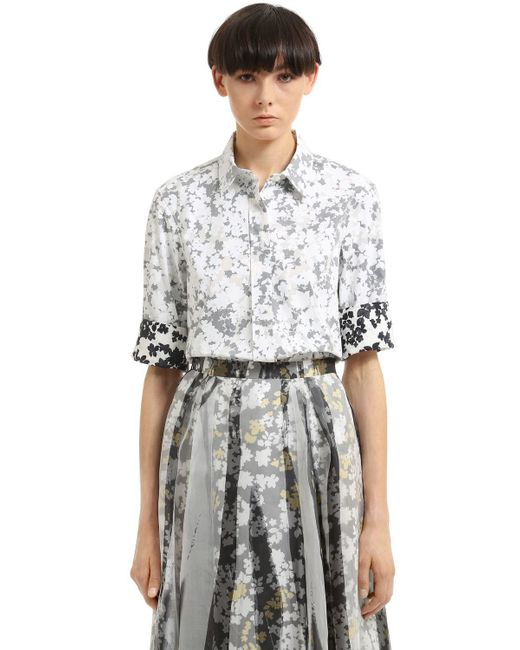 Jil Sander | White Floral Double Printed Cotton Shirt | Lyst