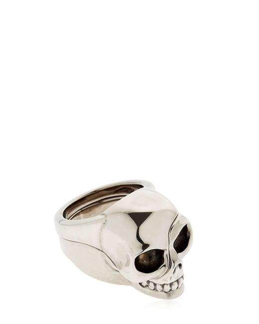 """Alexander McQueen - Metallic Anillo """"divided Skull"""" for Men - Lyst"""