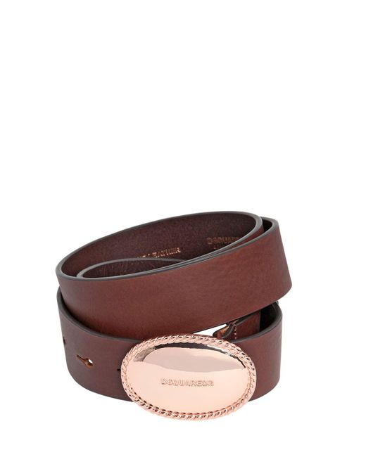 DSquared² - Brown 35mm Leather Belt W/ Logo Buckle - Lyst