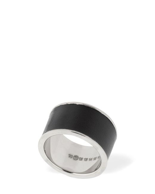 Maison Margiela Black Silver Ring W/ Leather for men