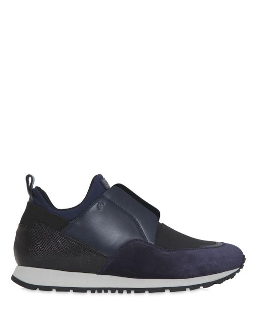 Tod's | Black 20mm Suede & Neoprene Slip-on Sneakers | Lyst