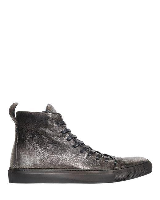 John Varvatos - Metallic High Top Leather Sneakers for Men - Lyst