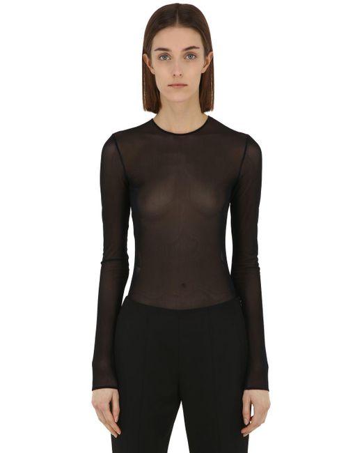 Maison Margiela - Black Body De Tul Stretch Transparente - Lyst