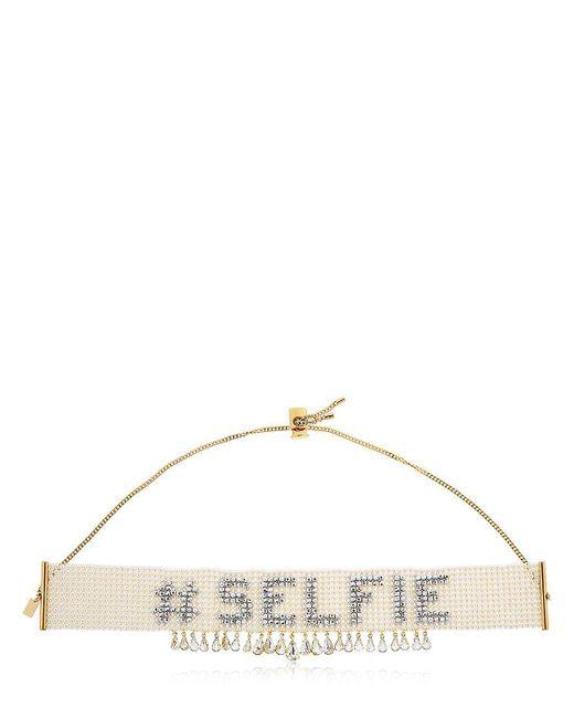 Bijoux De Famille | Metallic Selfie Beaded Choker Necklace W/ Crystal | Lyst