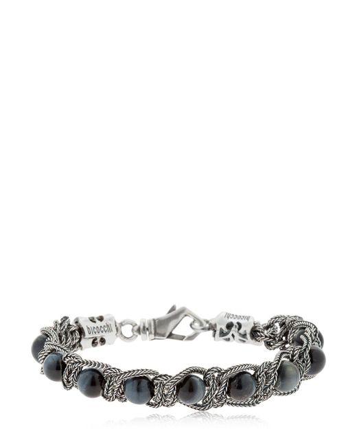 Emanuele Bicocchi - Metallic Tiger's Eye Braided Silver Bracelet for Men - Lyst