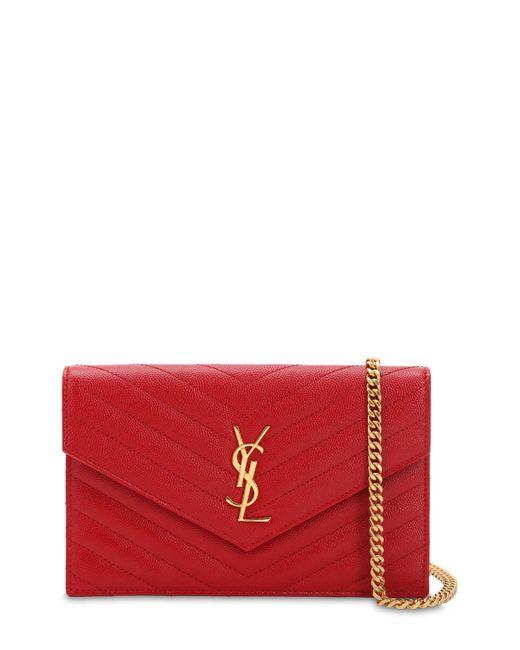 Bolso Pequeño De Piel Pespunteada Y Monograma Saint Laurent de color Red