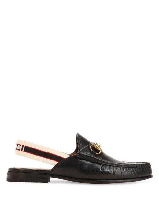Gucci - Black Mocasines De Piel Con Tira Posterior Elástica for Men - Lyst