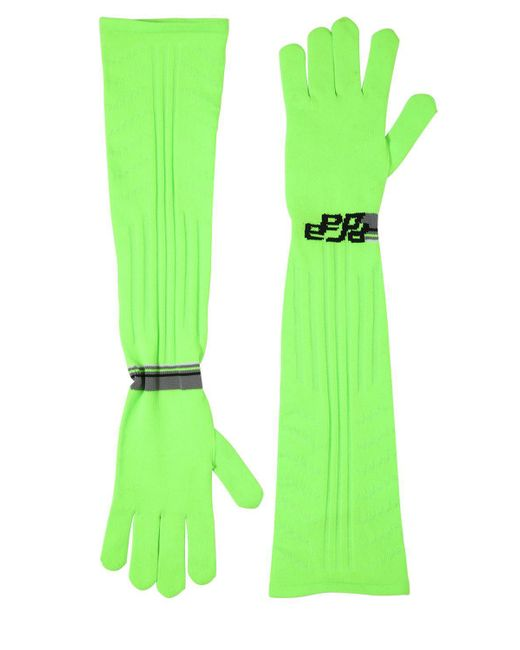 Prada - Green Logo Intarsia Tech Knit Long Gloves - Lyst