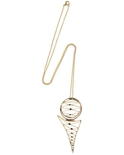 Alcozer & J - Metallic Brass Necklace W/ Garnets - Lyst