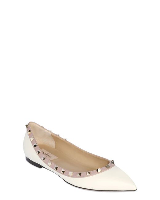 Valentino - White Rockstud Patent Leather Ballerina Flats - Lyst