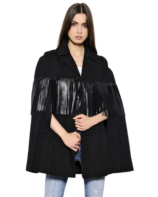 Saint Laurent - Black Fringed Cotton-blend Cape  - Lyst