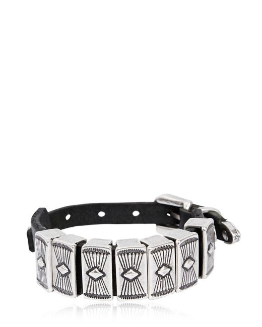 RUST MOOD | Black 20mm Leather Bracelet W/ Metal Detail | Lyst