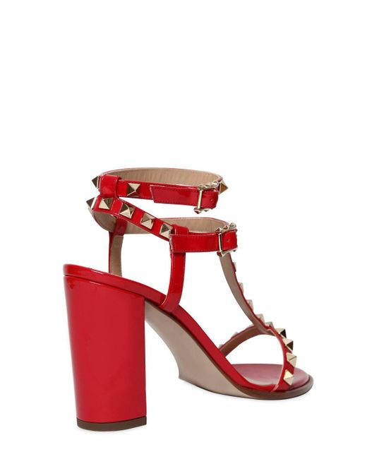 Valentino 90MM ROCKSTUD PATENT LEATHER SANDALS