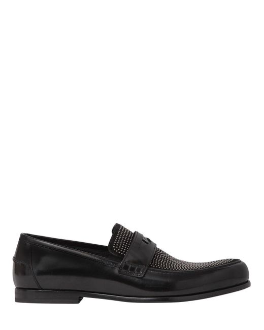 Jimmy Choo | Black Leather & Studded Suede Penny Loafers for Men | Lyst