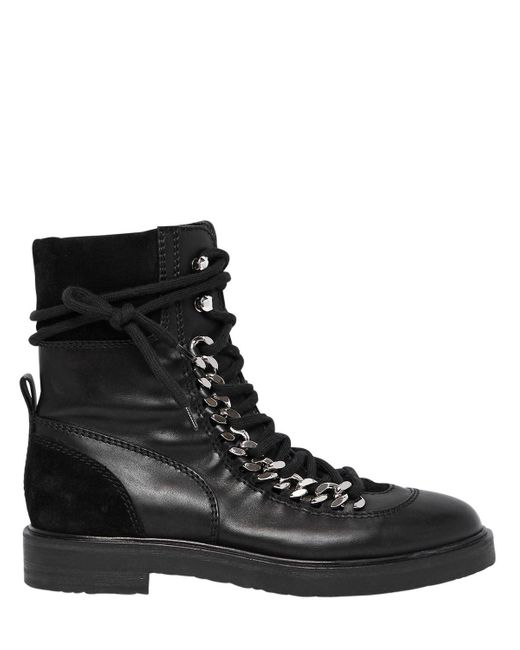 Casadei - Black 30mm Chained Leather & Suede Boots - Lyst
