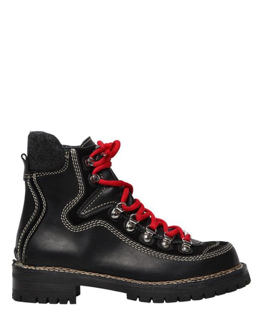 DSquared² - Black 40mm Canada Leather Hiking Boots for Men - Lyst