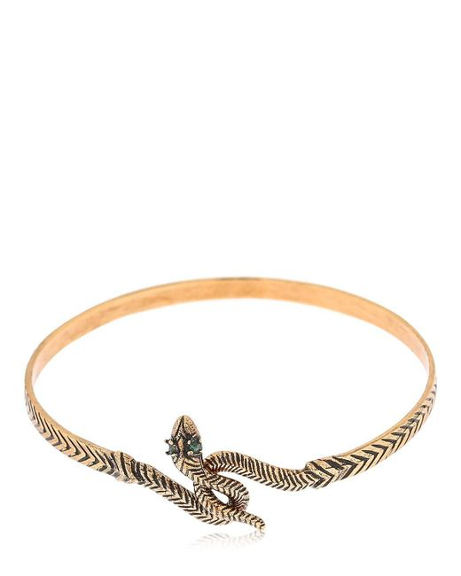 Alcozer & J - Metallic Snake Emerald Bangle Bracelet - Lyst