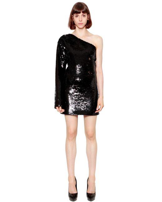 RTA | Black Sequined One Sleeve Dress | Lyst