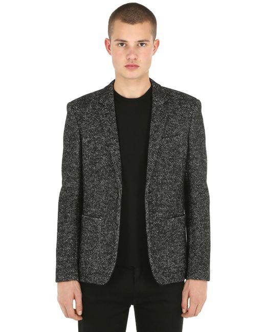 Saint Laurent - Black Wool Herringbone Coat for Men - Lyst