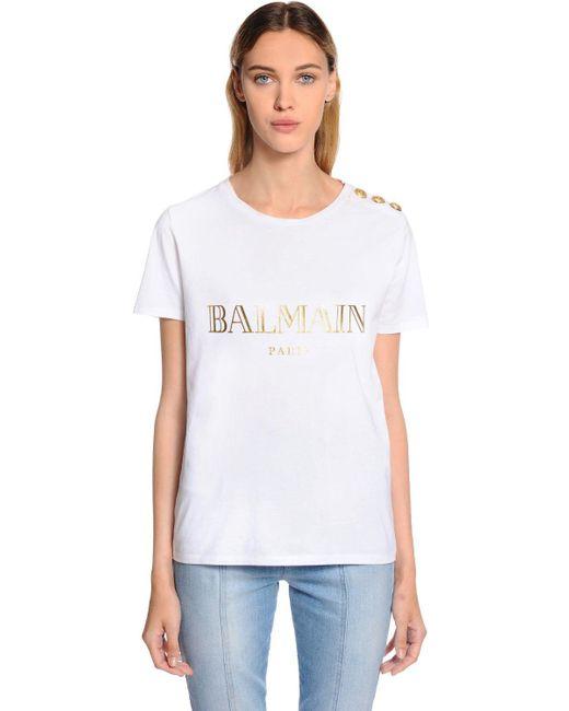Lyst balmain logo printed cotton jersey t shirt in white for Balmain white logo t shirt